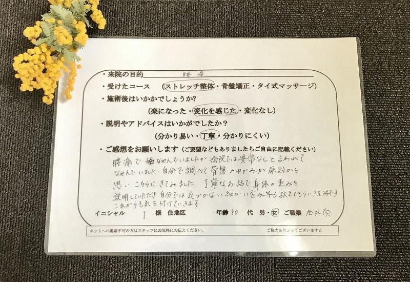 滋賀の整体院HOPE-原因不明の腰痛の口コミ